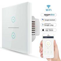 Wifi Interruptor Inteligente 2 Gang, Wireless Echo Interruptor remoto de luz de pared con Alexa/Google Home, Panel de vidrio sensible al tacto, Sin centro, Función de sincronización